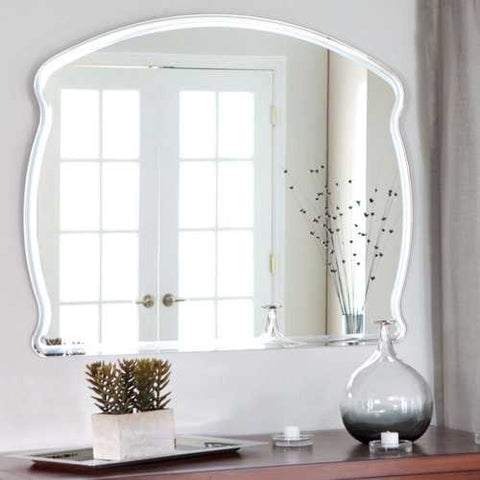 Rectangular Arch Top Wavy Modern Frameless Wall Mirror