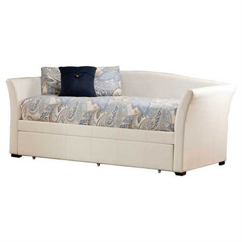 Twin size White Faux Leather Daybed with Pull-out Trundle Bed