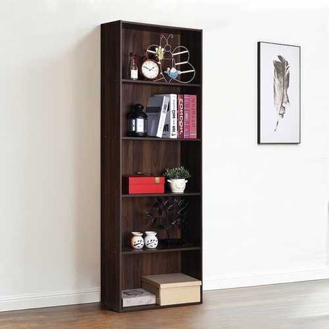 Modern 5-Tier Bookcase Storage Shelf in Brown Walnut Wood Finish