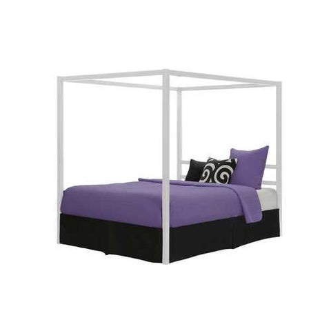 Queen size Modern White Metal Canopy Bed - No Box-Springs Required