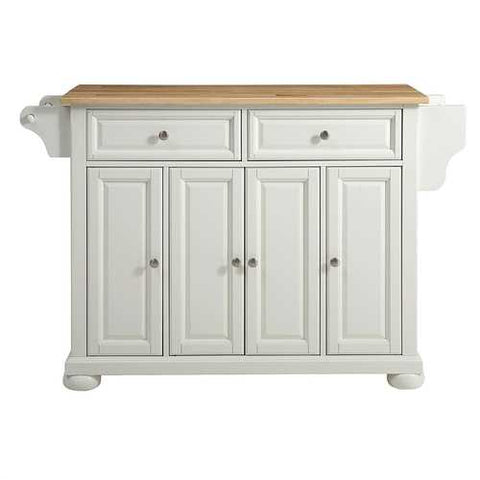 White Kitchen Island Storage Cabinet with Solid Wood Top