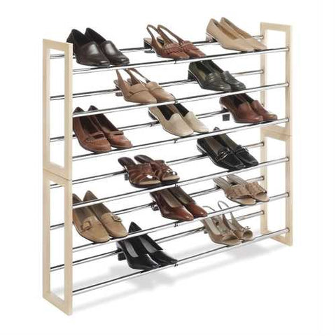 3-Tier Stackable & Expandable Shoe Rack in Wood & Chrome Metal