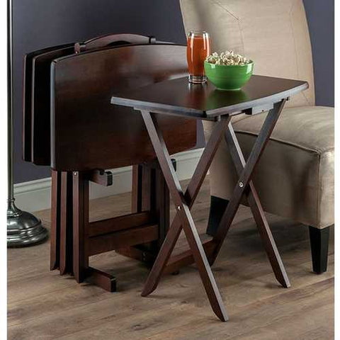 Set of 4 TV Tray Coffee Tables with Storage Rack in Walnut Wood Finish