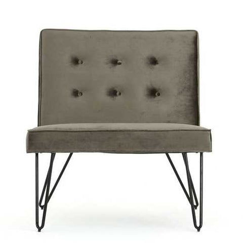 Gray Velvety Soft Upholstered Polyester Accent Chair Black Metal Legs