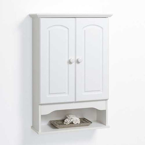 White 2-Door Bathroom Wall Cabinet with Open Storage Shelf