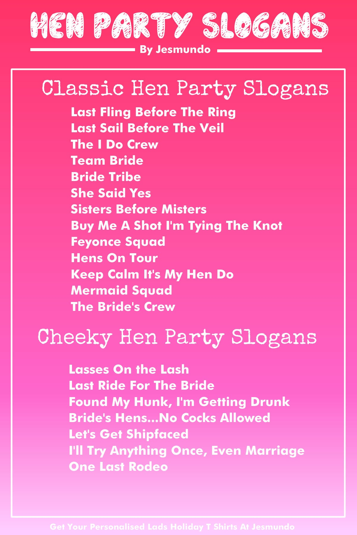 Hen Party Slogans - Funny Phrases For Your Hen Night