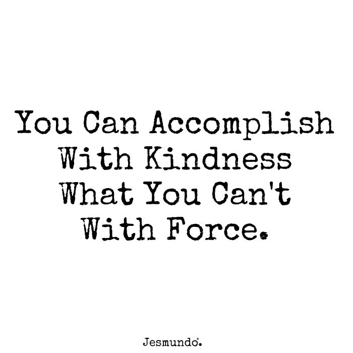 You can accomplish with kindness what you can't with force