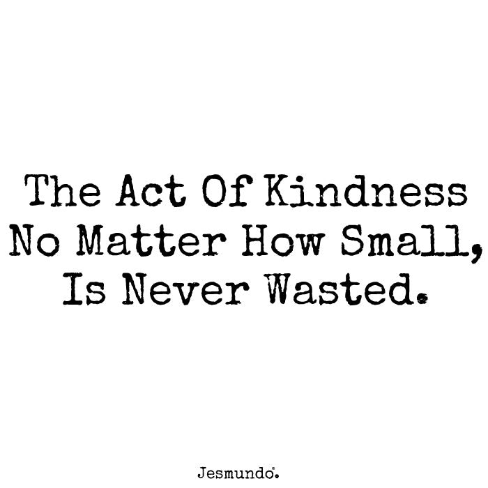 The Act Of Kindness No Matter How Small Is Never Wasted