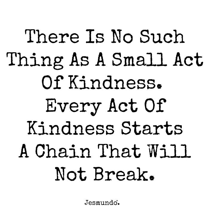 There is no such thing as a small act of kindness. Every act of kindness starts a chain that will not break