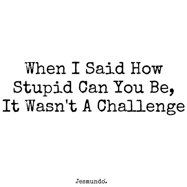 When I said how stupid can you be, it wasn't a challenge.