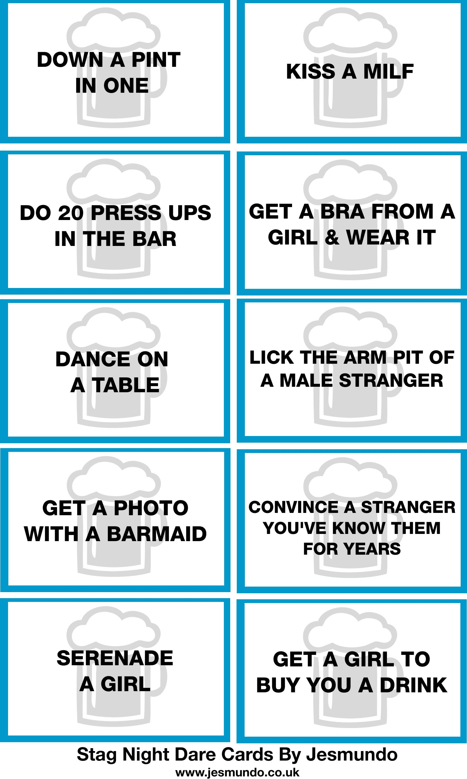 Stag Do Dare Cards By Jesmundo