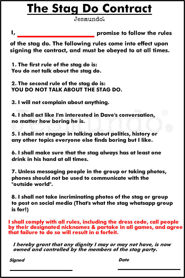 Stag Do Rules And Printable Contract