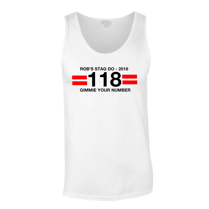 118 theme stag do vest top