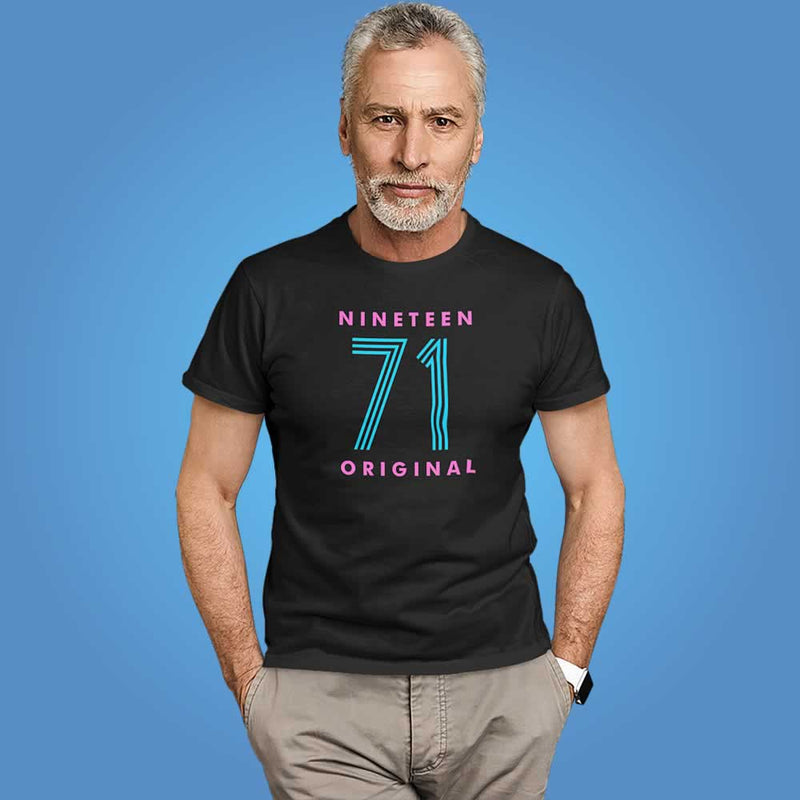Men's 50th Birthday Neon Print T-Shirt