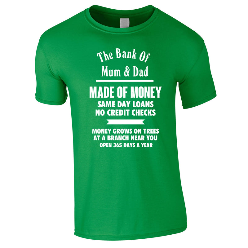 Bank Of Mum And Dad Tee In Green
