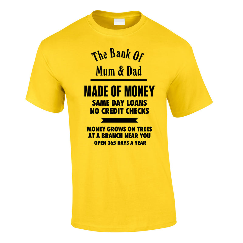Bank Of Mum And Dad Tee In Yellow