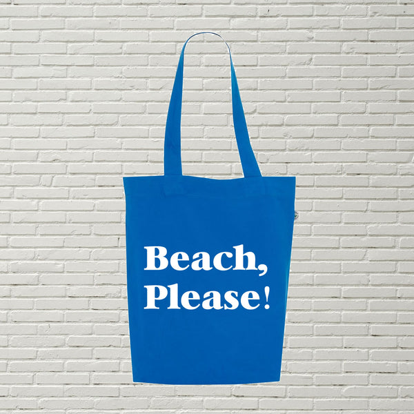 Beach Please Printed Quote Tote Bag