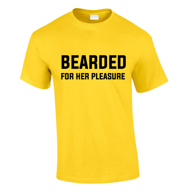 Bearded For Her Pleasure Tee In Yellow