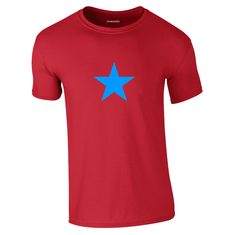 Blue Star Tee In Red