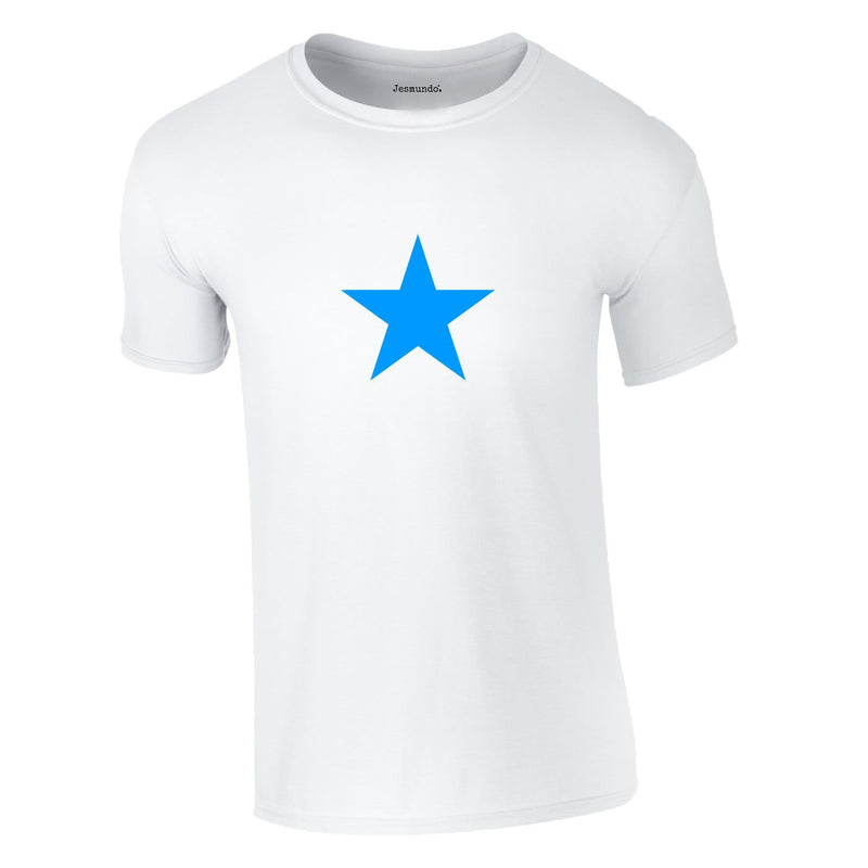 Blue Star Tee In White