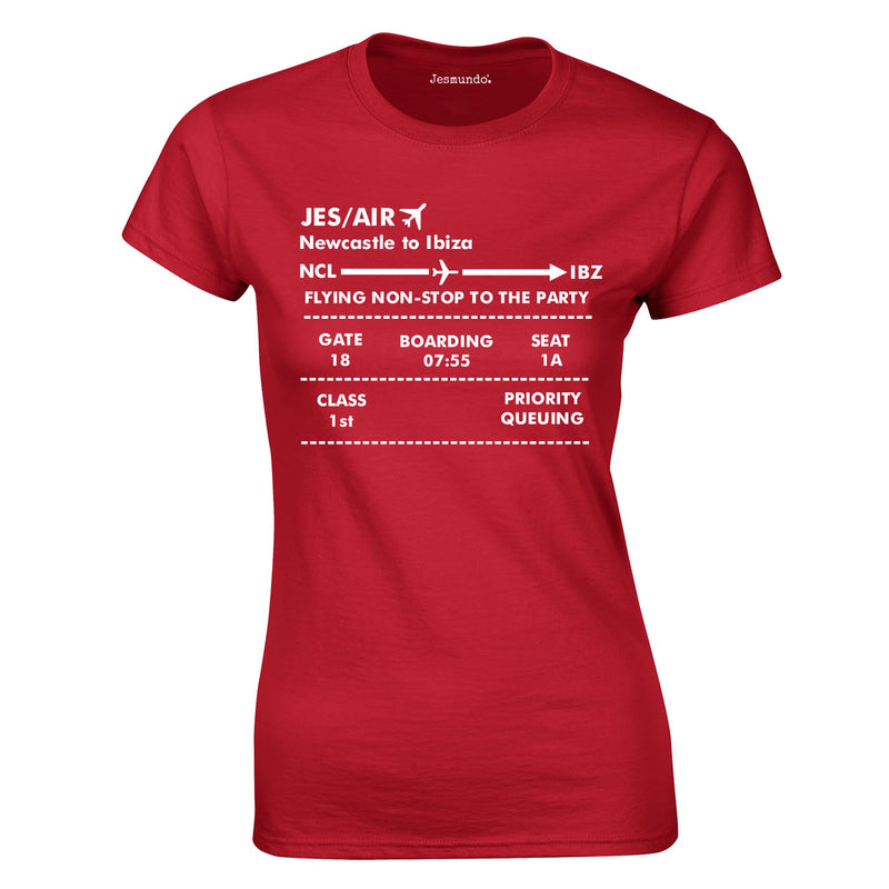 Boarding Pass Ladies top In Red