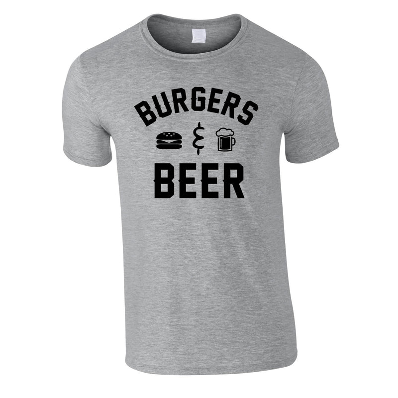 Burgers And Beer Tee In Grey