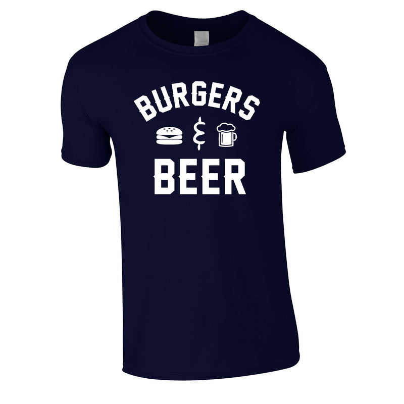 Burgers And Beer Tee In Navy
