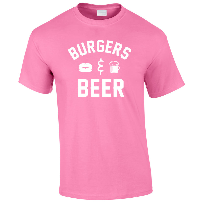 Burgers And Beer Tee In Pink