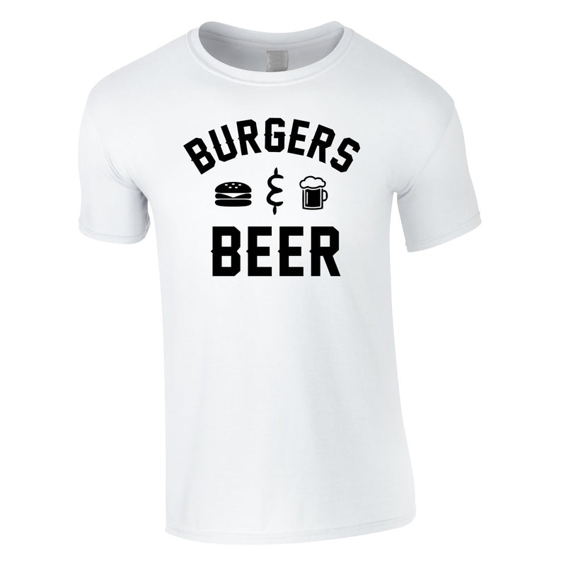 Burgers And Beer Tee In White