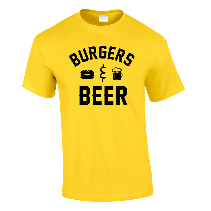 Burgers And Beer Tee In Yellow