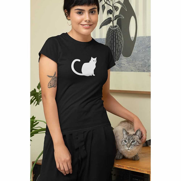 Black Cat Graphic Print T-Shirt