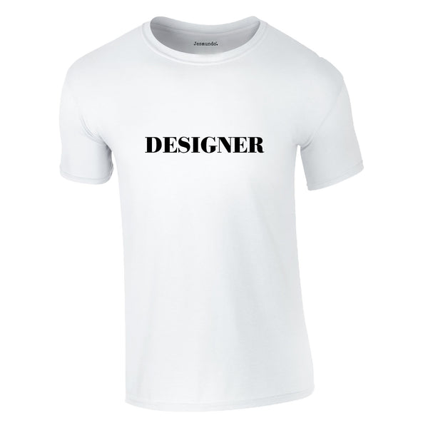 Designer Slogan Tee In White