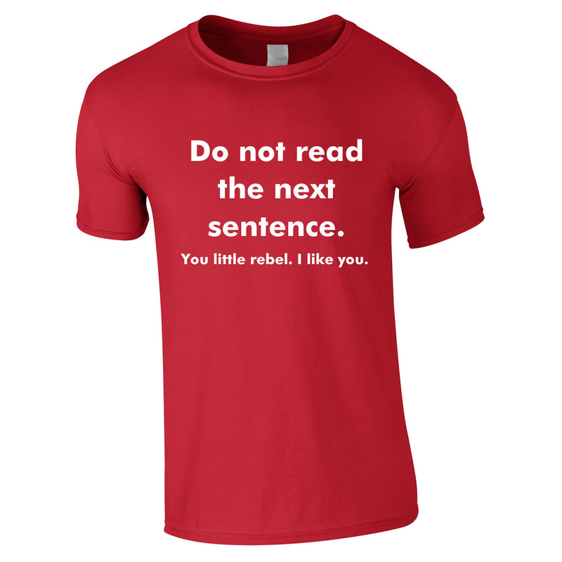 Do Not Read The Next Sentence - You Little Rebel, I Like You Tee In Red