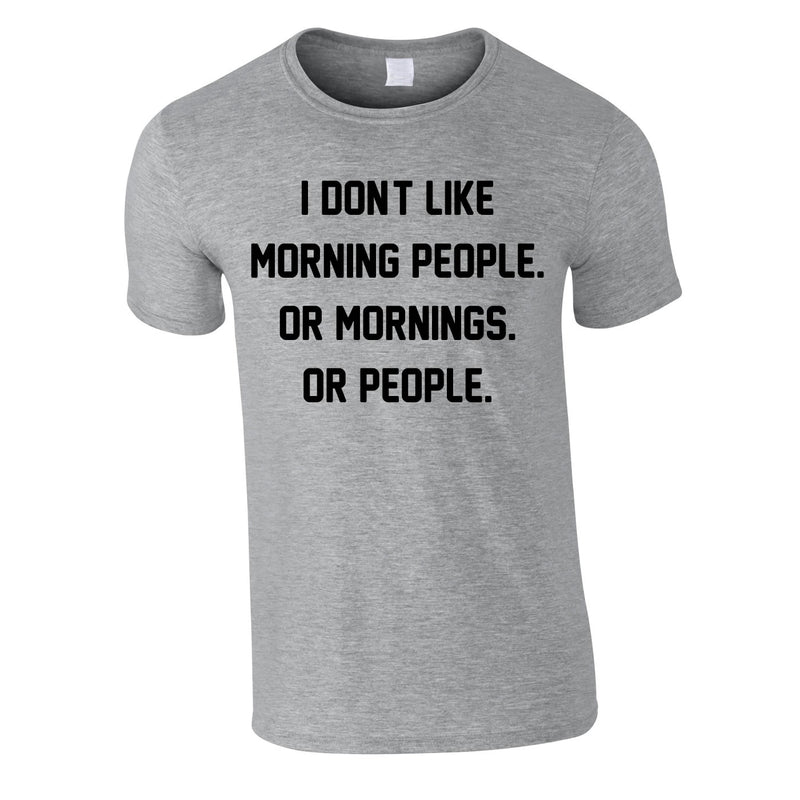 I Don't Like Morning People. Or Mornings. Or People Tee In Grey