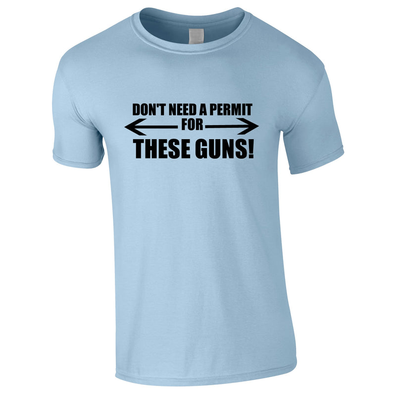 Don't Need A Permit For These Guns Tee In Sky