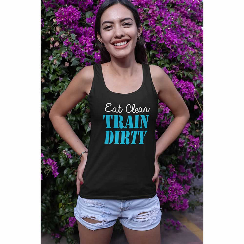 Eat Clean Train Dirty Funny Vest Top For Women