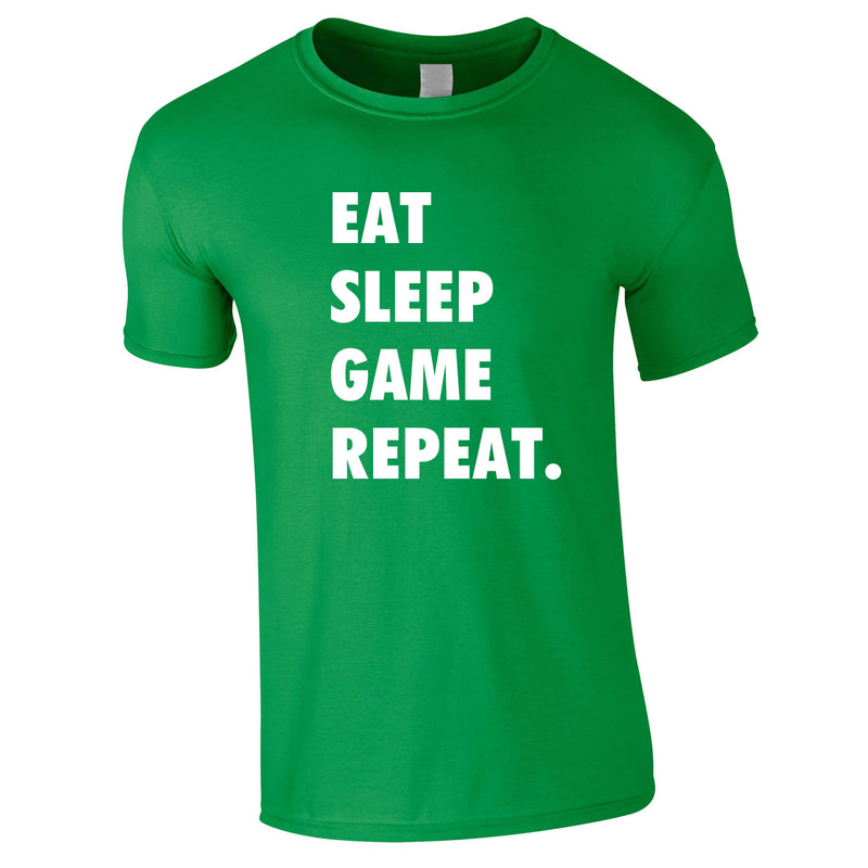 Eat Sleep Game Repeat Tee In Green