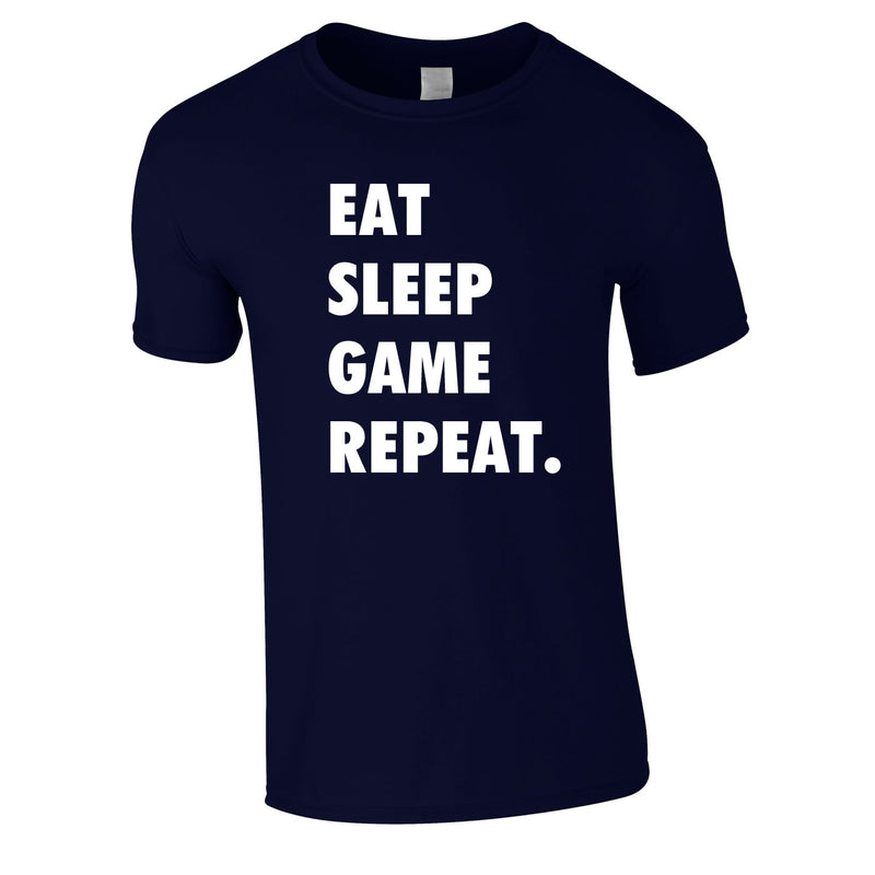 Eat Sleep Game Repeat Tee In Navy