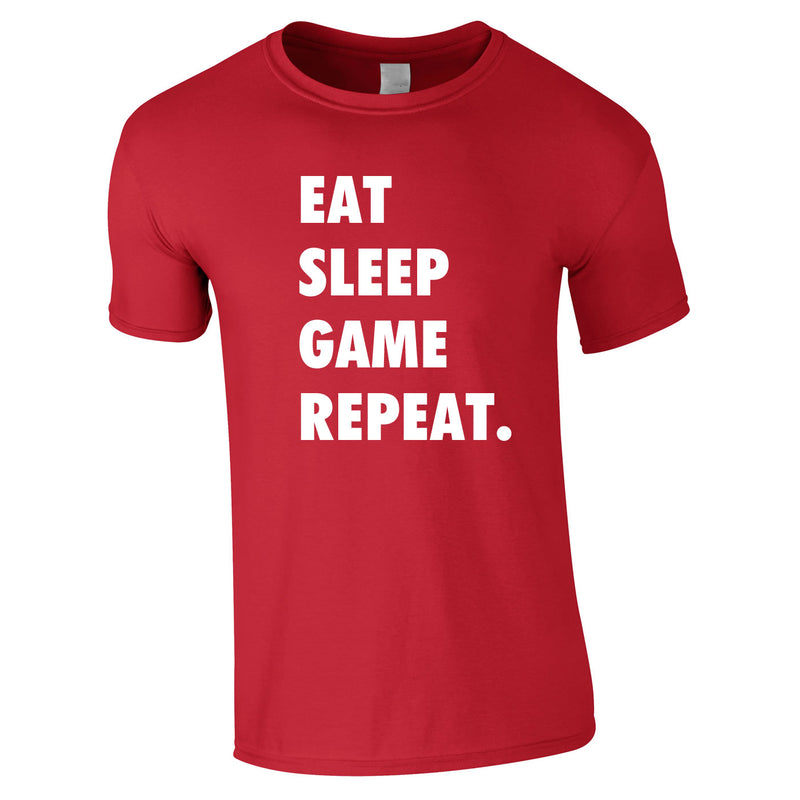 Eat Sleep Game Repeat Tee In Red