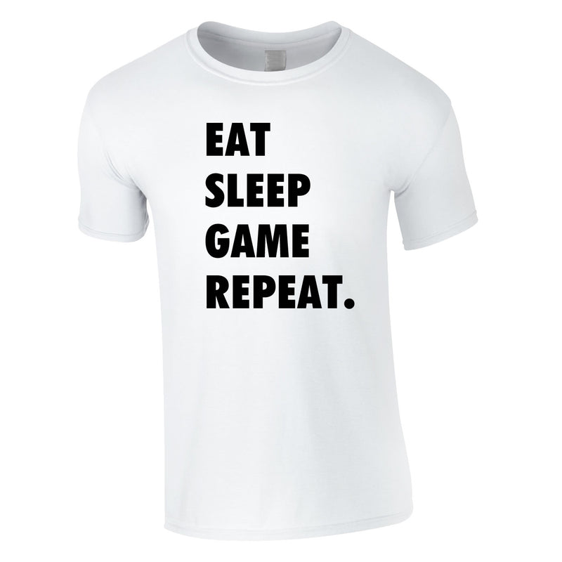 Eat Sleep Game Repeat Tee In White