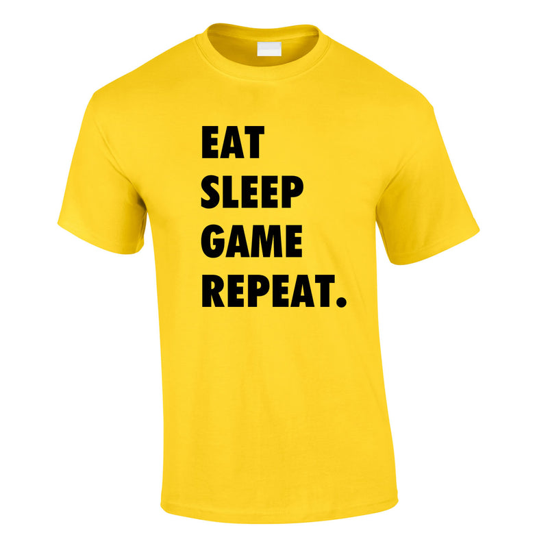 Eat Sleep Game Repeat Tee In Yellow