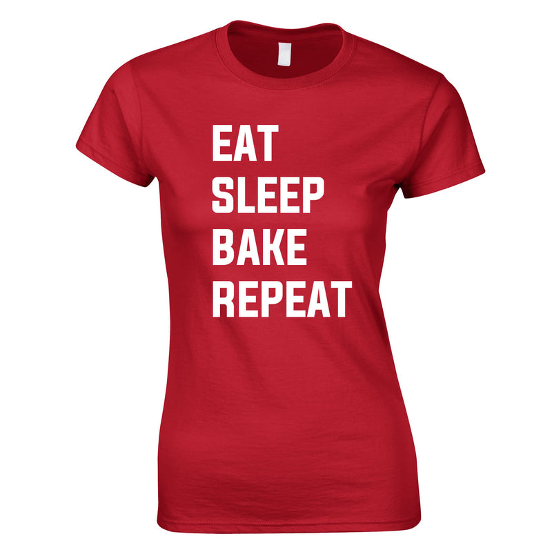 Eat Sleep Bake Repeat Top In Red