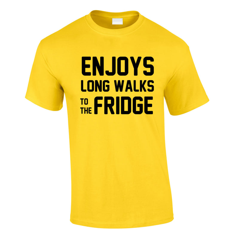 Enjoy's Long Walks To The Fridge Tee In Yellow