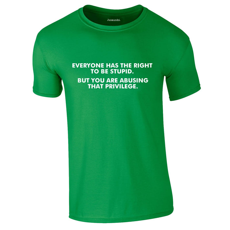 Everyone Has The Right To Be Stupid Tee In Green