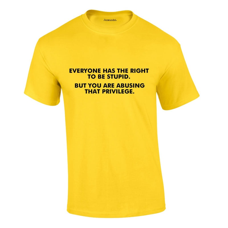 Everyone Has The Right To Be Stupid Tee In Yellow