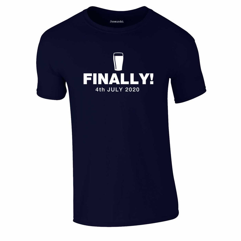 Finally Beer 4th July 2020 Tee In Navy