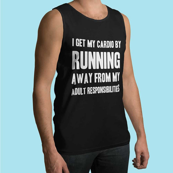 I Get My Cardio By Running Away Men's Vest