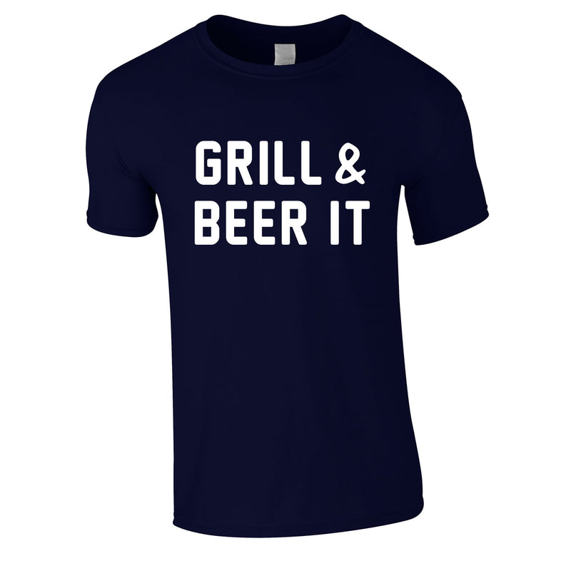 Grill And Beer It Tee In Navy