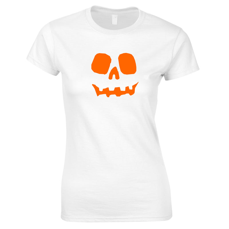 Halloween Pumpkin Women's Top in White