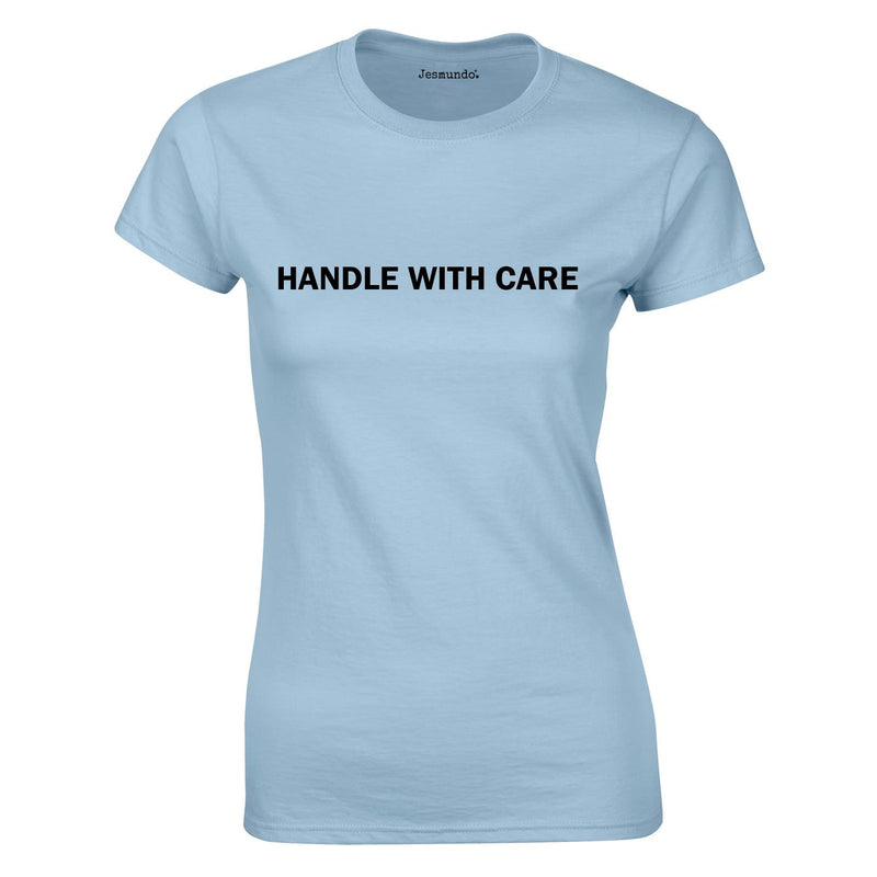 Handle With Care Ladies Top In Sky